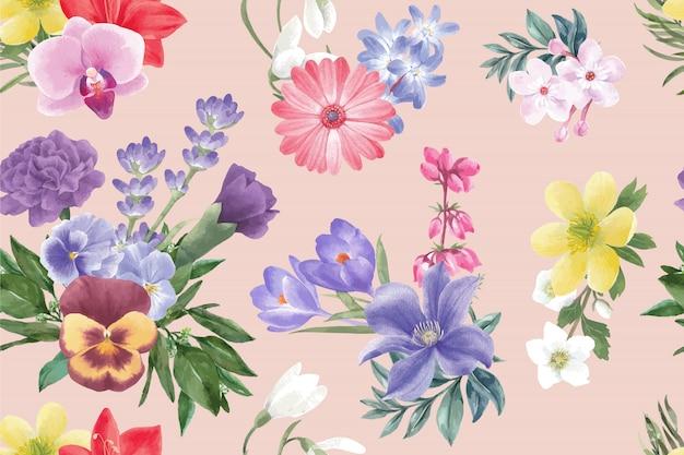 Motif de fleurs d'hiver avec gerbera, lavande, crocus, pivoine Vecteur gratuit