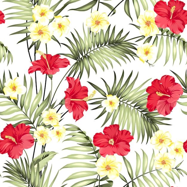 Motif de fleurs de plumeria et palmiers de la jungle Vecteur Premium