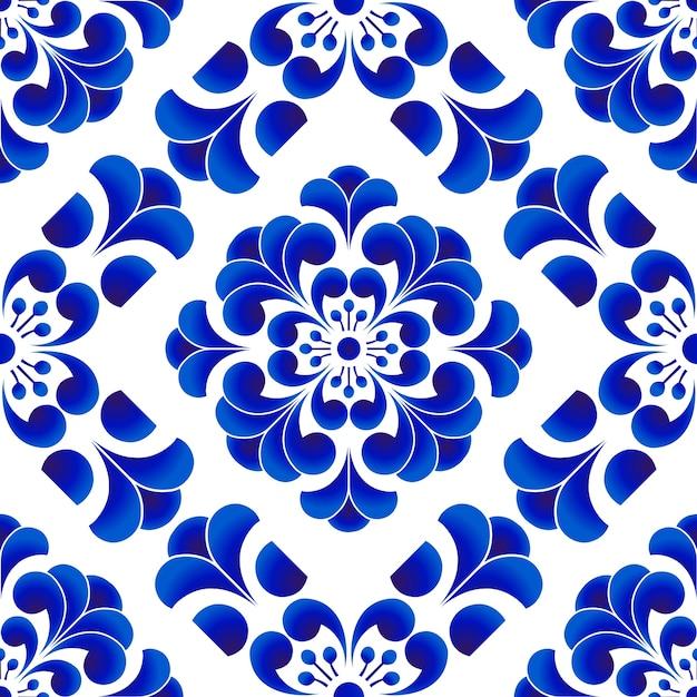 Motif De Fleurs En Porcelaine Bleue Et Blanche à La Chinoise Et Japonaise, Seamles Floraux En Céramique Vecteur Premium