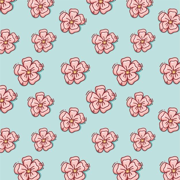 Motif De Fleurs Rose Dessiné à La Main Vecteur Premium
