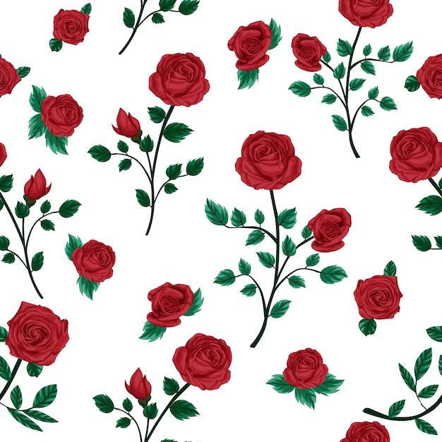 Motif de fleurs roses avec fond blanc Vecteur Premium