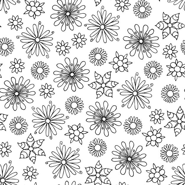 Motif De Fleurs Sans Couture Dessiné De Main En Noir Et Blanc. Vecteur Premium