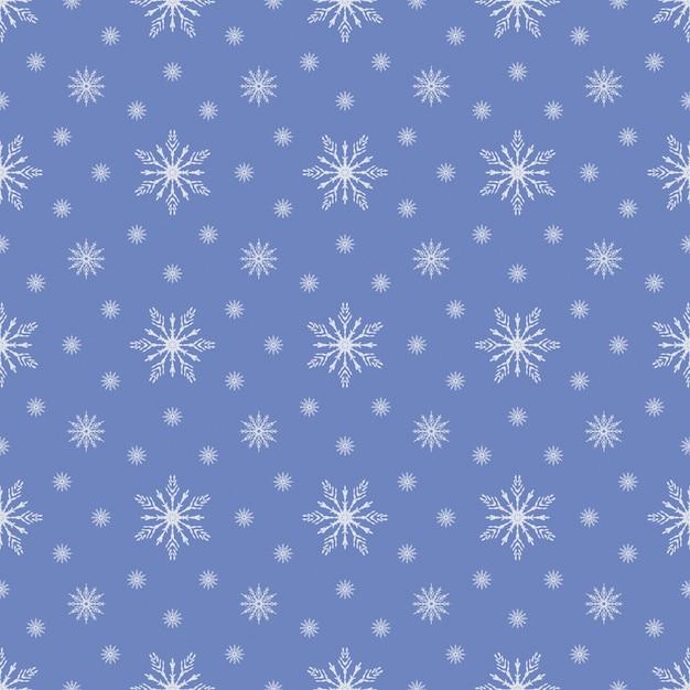 Motif flocon de neige sans couture bleu Vecteur Premium