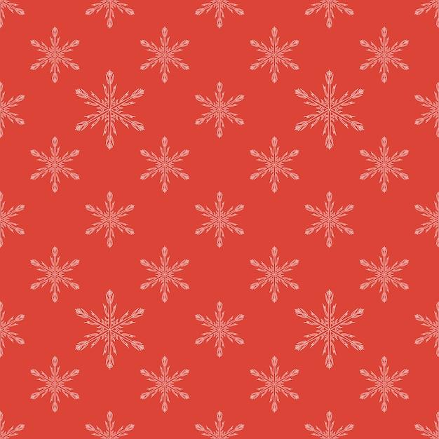 Motif flocon de neige sans couture rouge Vecteur Premium
