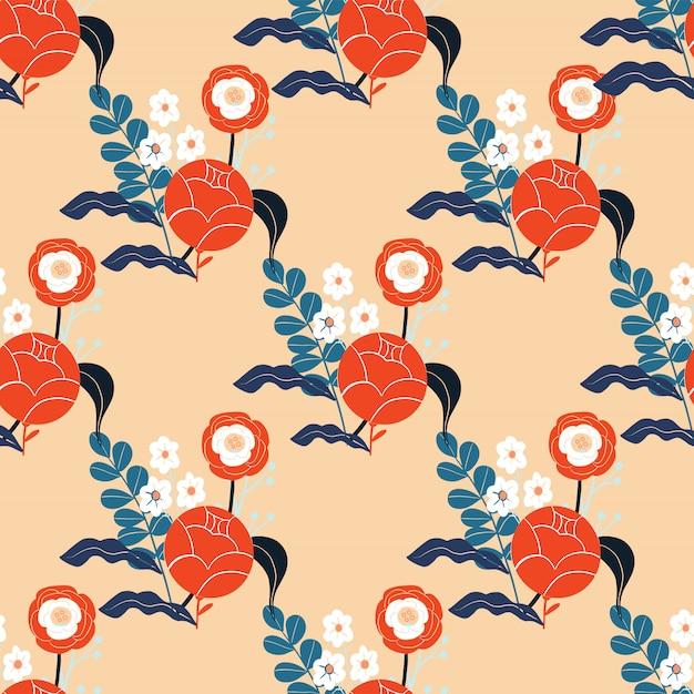 Motif floral abstrait coloré. fond transparent. Vecteur Premium