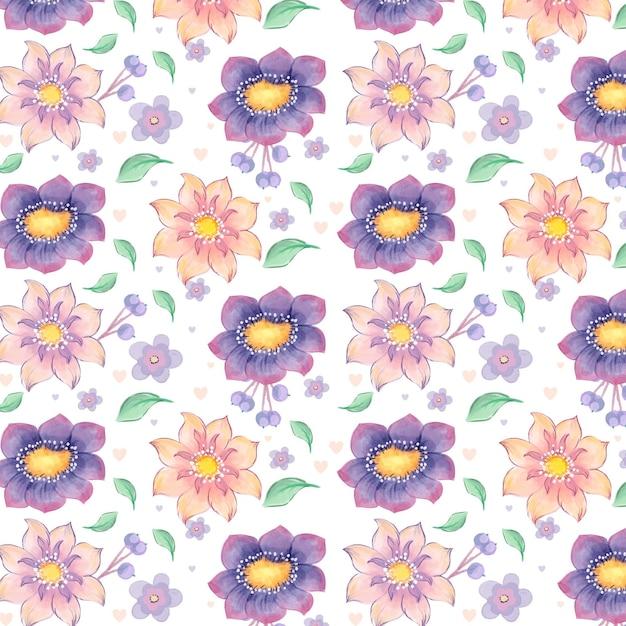 Motif Floral Aquarelle Vecteur gratuit