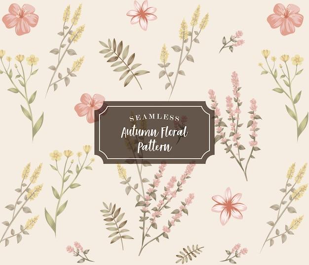 Motif Floral D'automne Sans Soudure Vecteur Premium
