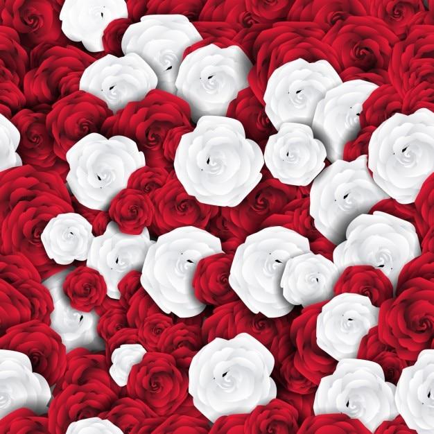 Motif floral avec des roses blanches et rouges Vecteur gratuit