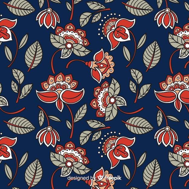 Motif floral batik Vecteur gratuit