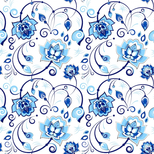 Motif floral bleu et blanc sans couture dans le thème slave Vecteur Premium