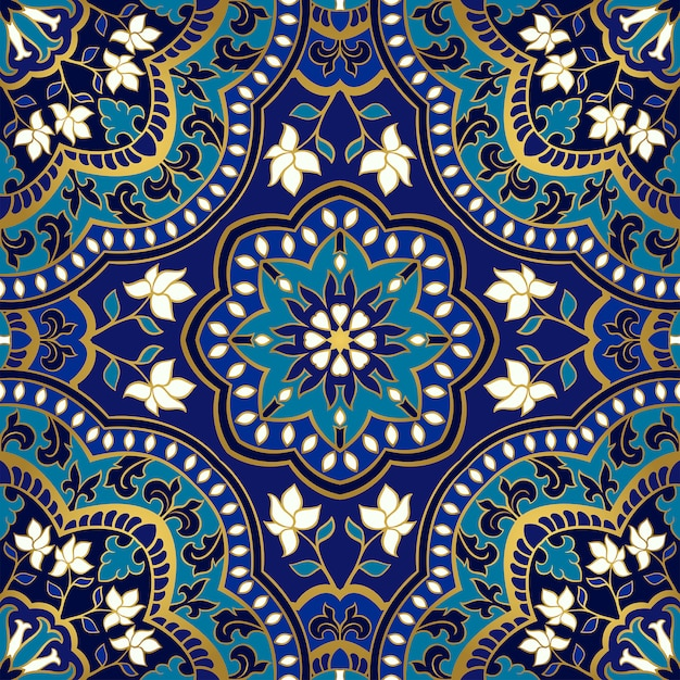Motif Floral Bleu. Vecteur Premium