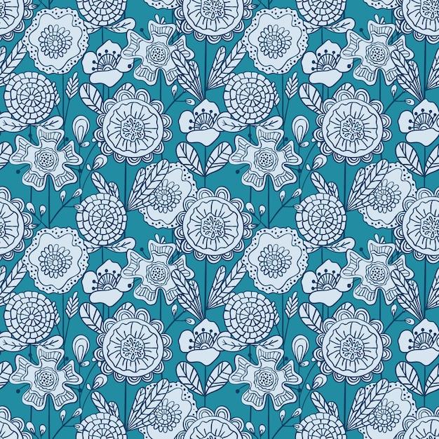 Motif floral coloré sans soudure de vecteur. motif de fleurs dessiné main doodle Vecteur Premium
