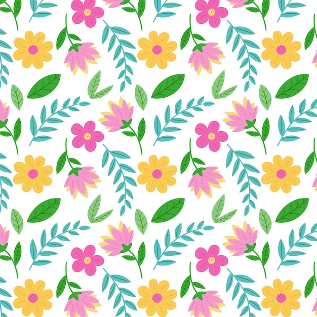 Motif Floral Coloré Vecteur gratuit