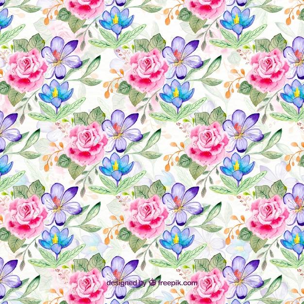 Motif floral dans le style d'aquarelle Vecteur gratuit