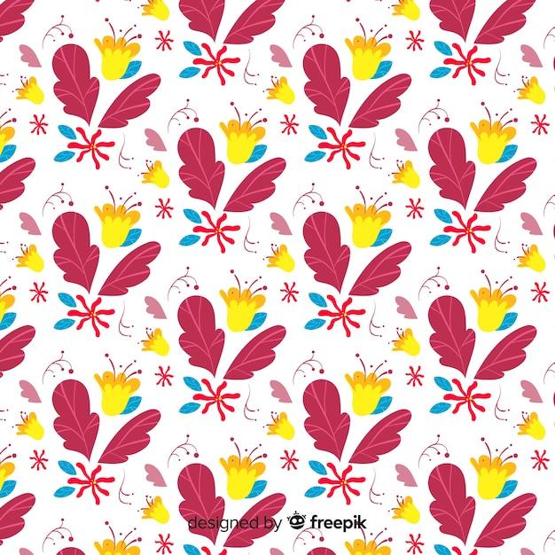 Motif floral dessiné à la main Vecteur gratuit