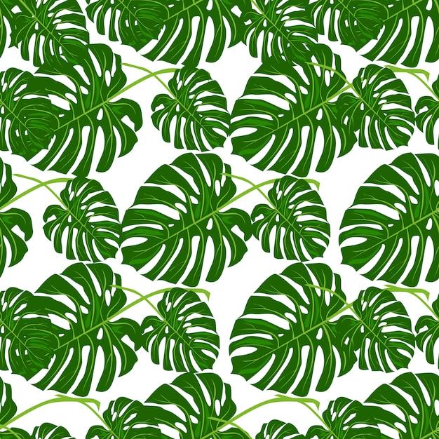 Motif floral été belle vectorielle continue avec des feuilles de palmier tropical. Vecteur Premium