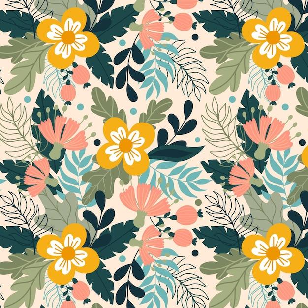 Motif Floral Exotique Peint à La Main Avec Des Fleurs Jaunes Vecteur gratuit