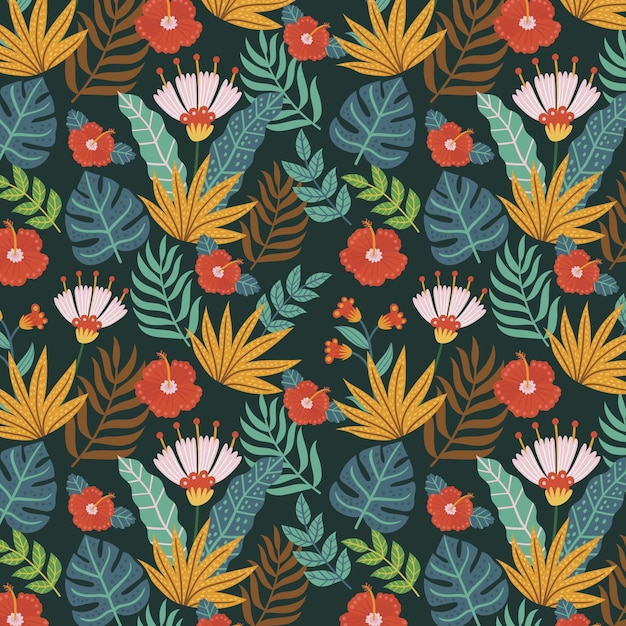 Motif Floral Exotique Peint à La Main Vecteur gratuit