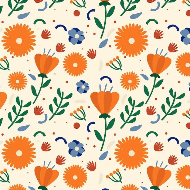 Motif Floral Exotique Peint à La Main Vecteur Premium