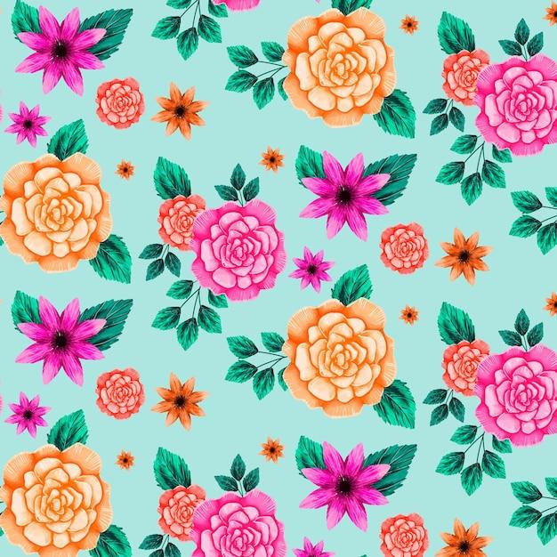 Motif Floral Avec Des Fleurs Orange Et Roses Vecteur gratuit