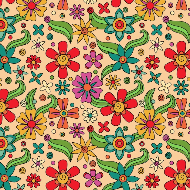 Motif Floral Groovy Dessiné à La Main Vecteur gratuit