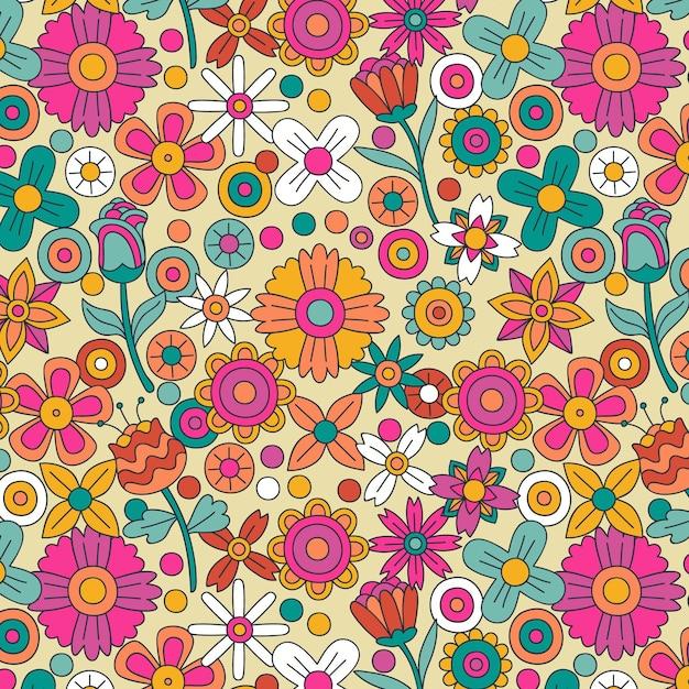 Motif Floral Groovy Dessiné à La Main Vecteur Premium
