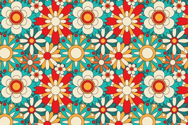 Motif Floral Groovy Floraison Printanière Vecteur gratuit