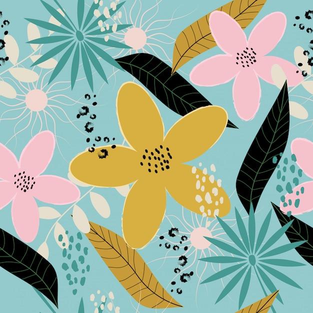 Motif floral printemps coloré sans soudure Vecteur Premium