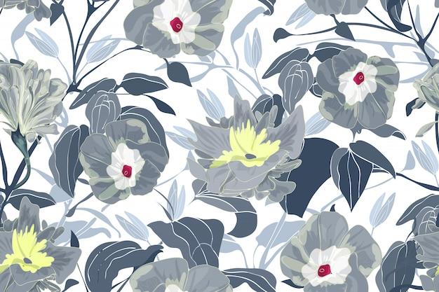 Motif Floral Sans Couture D'art. Fleurs, Branches Et Feuilles De Gloire Grise Du Matin. Vecteur Premium