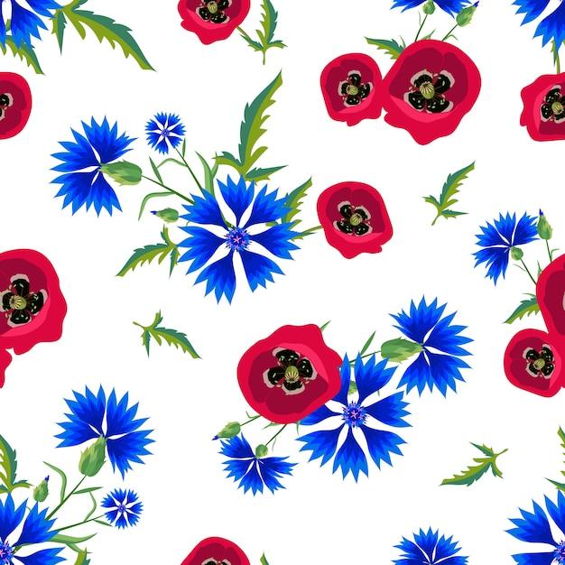 Motif Floral Sans Couture Avec Coquelicots Rouges Et Bleuets Bleus. Vecteur Premium