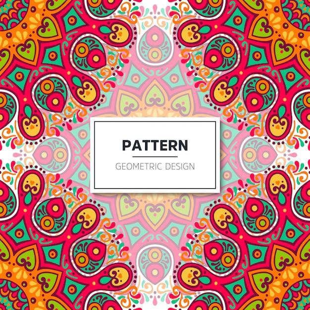 Motif Floral Sans Couture Ethnique Avec Mandalas Vecteur gratuit