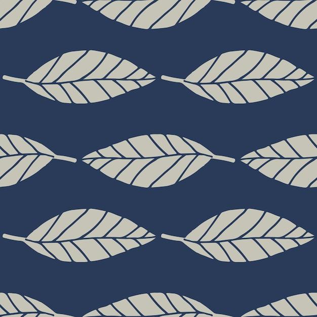 Motif Floral Sans Couture Avec Des Feuilles De Lignes Géométriques. éléments Botaniques De Couleur Grise Sur Fond Bleu Marine. Vecteur Premium