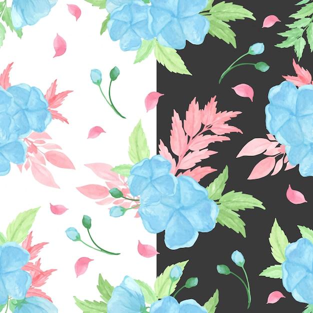 Motif Floral Sans Couture Avec Fleurs Bleues Vecteur Premium