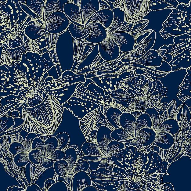 Motif floral sans couture avec fleurs exotiques Vecteur Premium