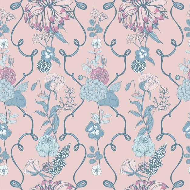 Motif Floral Sans Couture Avec Fleurs, Fond Vintage Vecteur Premium