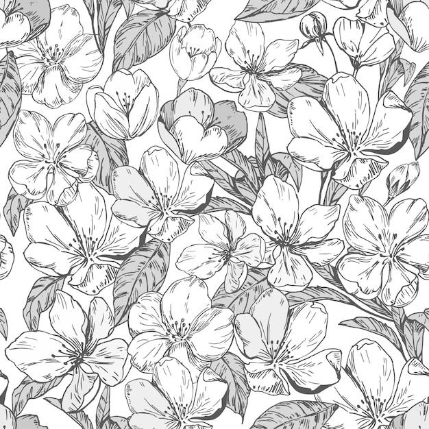 Motif Floral Sans Couture Avec Des Fleurs De Pommier. Vecteur Premium
