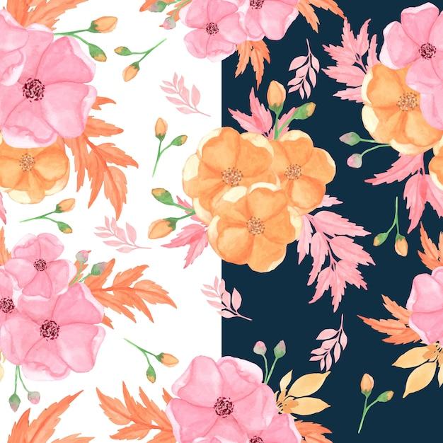 Motif Floral Sans Couture Avec Des Fleurs Roses Et Orange Vecteur Premium