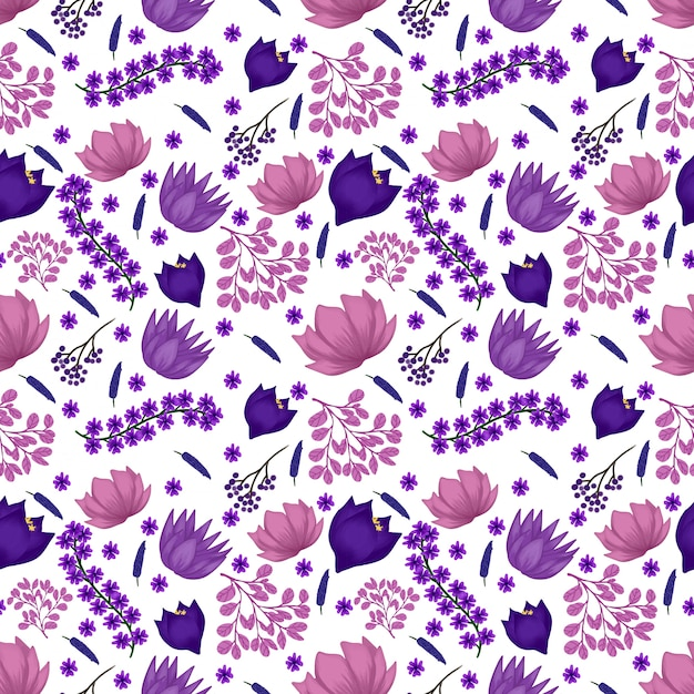 Motif floral sans couture avec fleurs violettes Vecteur Premium