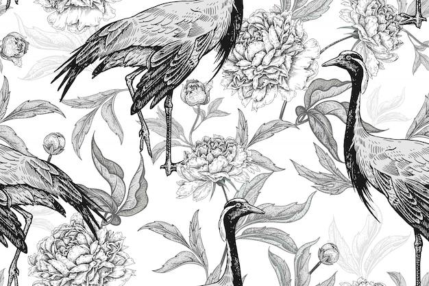Motif Floral Sans Couture Avec Grues Et Pivoines Fleurs. Noir Et Blanc. Vecteur Premium