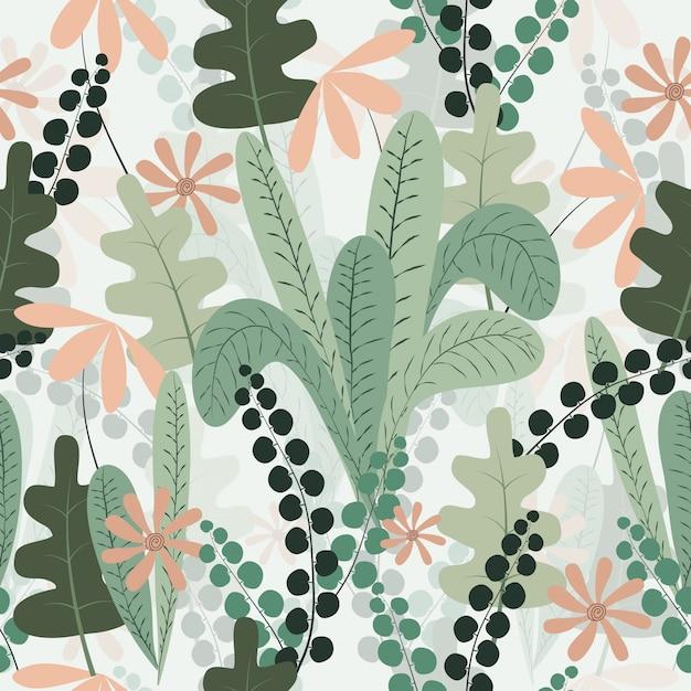 Motif floral sans couture printemps tropical Vecteur Premium