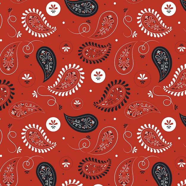 Motif Floral Sans Soudure Bandana Paisley Sur Fond Rouge Vecteur Premium