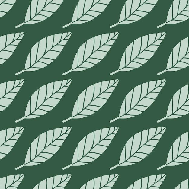 Motif Floral Sans Soudure De Feuilles Légères. Fond Vert Foncé. Toile De Fond Simple Botanique. Vecteur Premium
