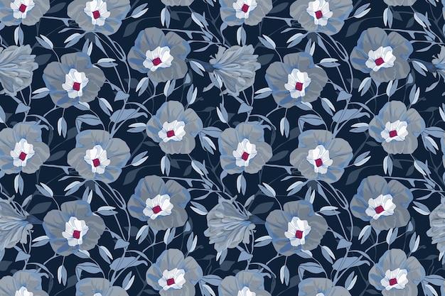 Motif Floral Sans Soudure. Fleurs, Branches Et Feuilles De Gloire Du Matin Gris Et Bleu. Vecteur Premium