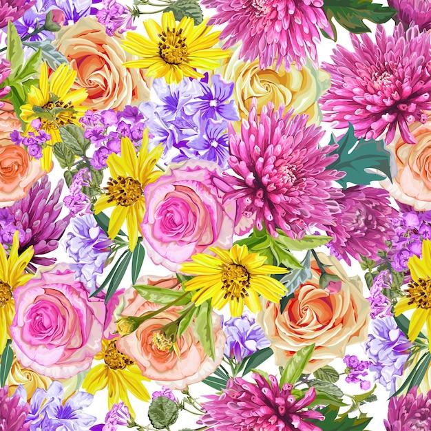 Motif floral sans soudure, roes, chrysanthème, petite étoile, fleurs de laurier rose Vecteur Premium