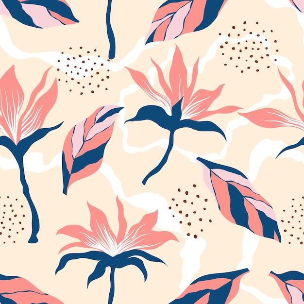 Motif Floral Sans Soudure. Vecteur Premium