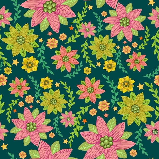 Motif floral tropical sans soudure Vecteur Premium