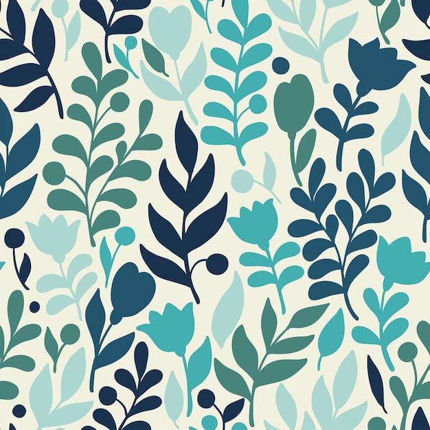 Motif floral vector dans un style doodle avec fleurs et feuilles Vecteur Premium