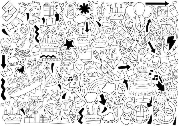 Motif de fond des ornements du parti doodle joyeux anniversaire main Vecteur Premium