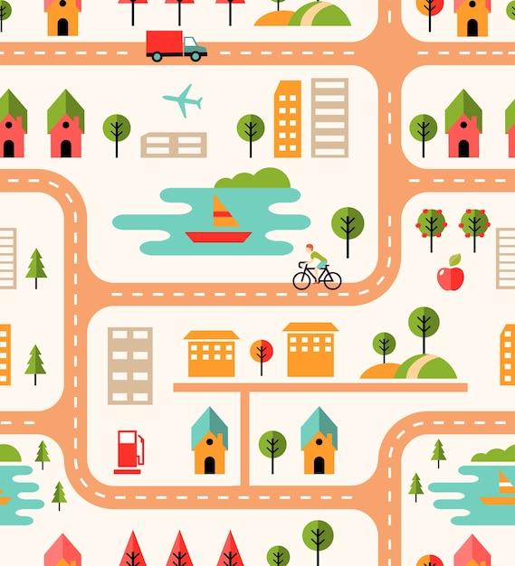 Motif De Fond Sans Couture De Carte De Ville Avec Des Rues Vecteur gratuit