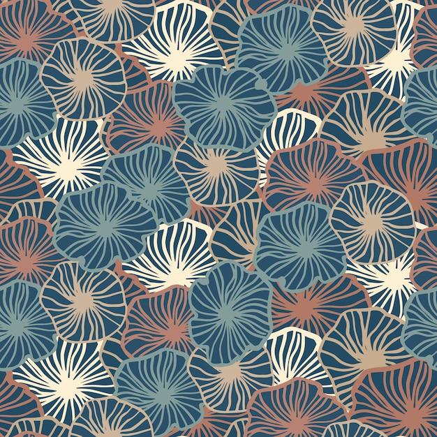 Motif De Formes De Fleurs Simples Seamles Soutline. éléments Botaniques Profilés Dans Des Tons Bleus, Rouges Et Clairs. Toile De Fond Sans Fin. Vecteur Premium